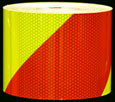Fluorescent Lime and Red Striped Reflective Tape
